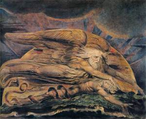 Elohim creating Adam by William Blake. These are wildly mad, spiritual entreaties. Could there ever be another Blake with all our meta-analysis & over arching calculations toward certainty?